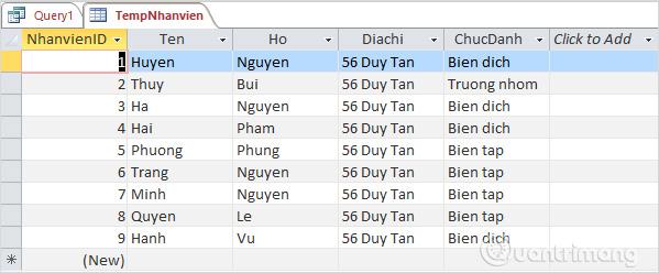 Dữ liệu từ bảng tblNhanvien đã được thêm vào TempNhanvien