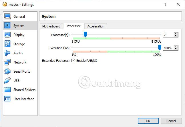Đảm bảo hộp Enable PAE/NX được chọn