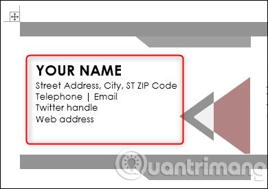 Gõ thông tin vào mẫu danh thiếp