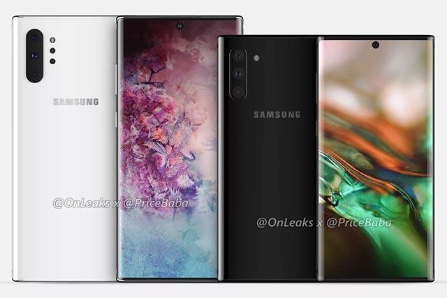 Hình ảnh rò rỉ về Galaxy Note 10 của @Onleaks và Pricebaba