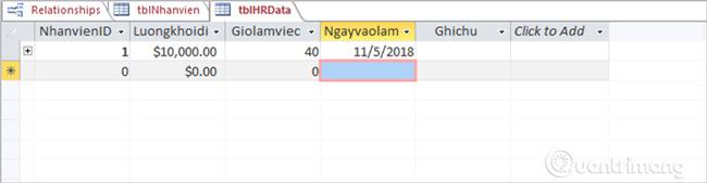 Dữ liệu nhập trực tiếp ở bảng tblNhanvien được kết nối và xuất hiện tại bảng tblHRData