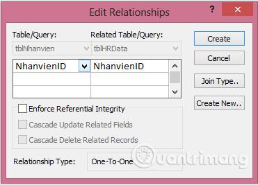 Kéo nối 2 trường NhanvienID của 2 bảng với nhau để hiện ra hộp thoại Edit Relationships