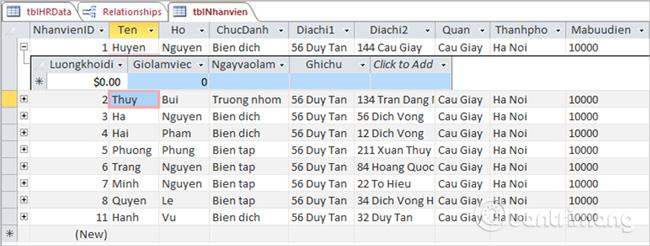 Một biểu dữ liệu con xuất hiện khi bạn click vào dấu cộng nhỏ trước bản ghi
