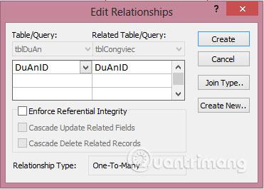 Kéo nối 2 trường DuAnID của 2 bảng với nhau để hiện ra hộp thoại Edit Relationships