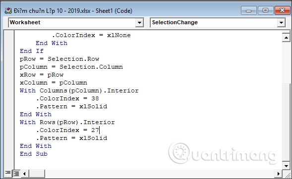 Cách tự động nổi bật dòng, cột trong Excel - Ảnh minh hoạ 12