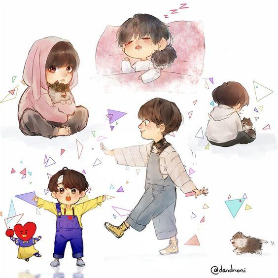 Tổng hợp hình ảnh BTS Chibi cực cute và đáng yêu 15