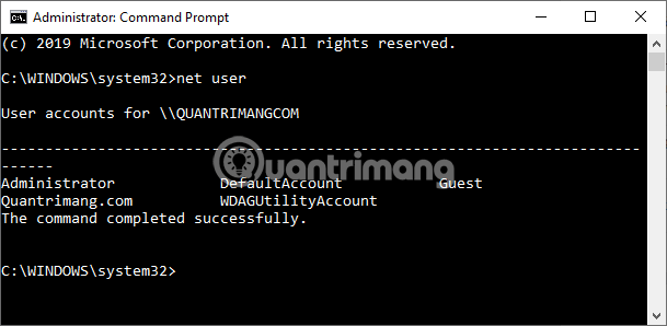 Lệnh đổi mật khẩu máy tính Windows 10