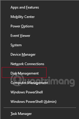 Mở Disk Management bằng menu Win X