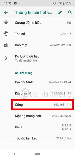 Cổng địa chỉ IP Android