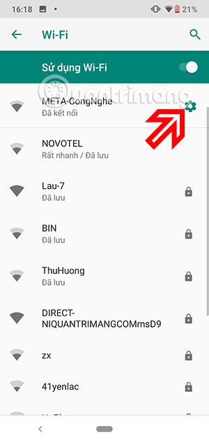 Menu Wifi
