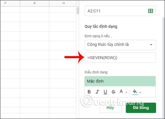 Cách tô màu dòng xen kẽ trong Google Sheets - Ảnh minh hoạ 4