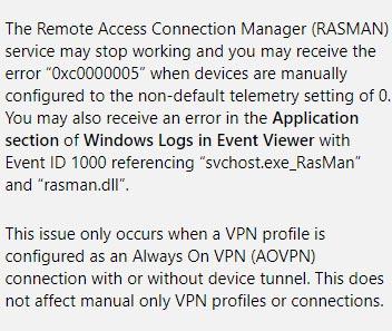 Dịch vụ RASMAN bị treo do lỗi cập nhật Windows 10 1903