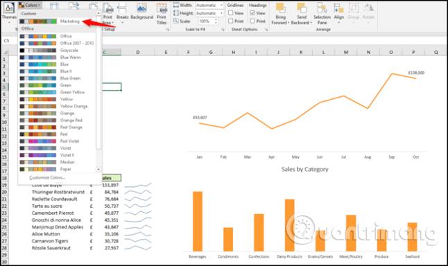 Cách sử dụng theme trong Excel - Ảnh minh hoạ 7