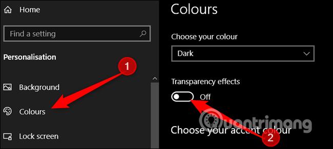 Tắt tùy chọn Transparency Effects