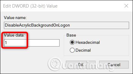 Thay đổi Value Data từ 0 thành 1