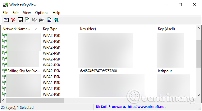 Phần mềm WirelessKeyView