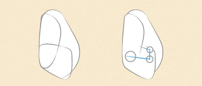 Vẽ các ngón tay từ góc nhìn một bên