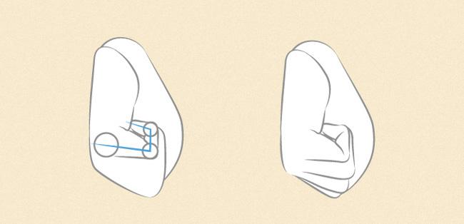 Vẽ nốt ngón cái nằm sau cùng