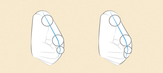 Thêm các chi tiết trên bàn tay để hoàn thiện bản vẽ