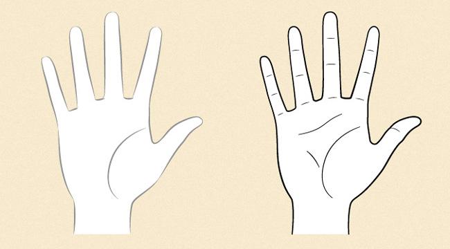 Phác thảo lòng bàn tay và ngón cái nhìn từ một bên cạnh