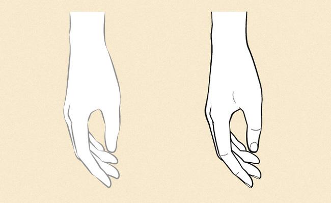Vẽ tay đang nắm lại từ góc nhìn một bên
