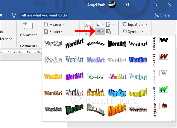 Chọn WordArt