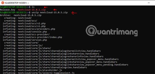 Giải nén file NextCloud server