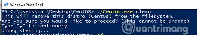 Gỡ cài đặt CentOS 7 WSL