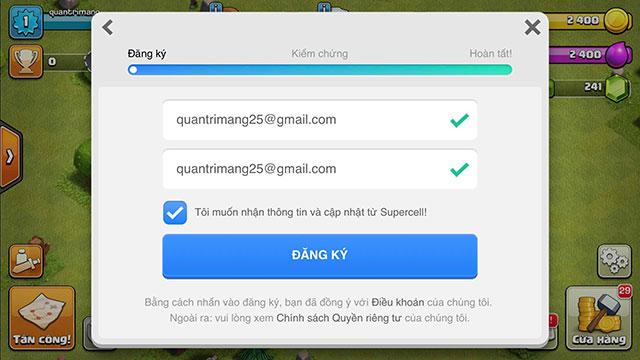 Điền vào email đăng ký Supercell ID của bạn