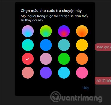 Chọn màu khung tin nhắn
