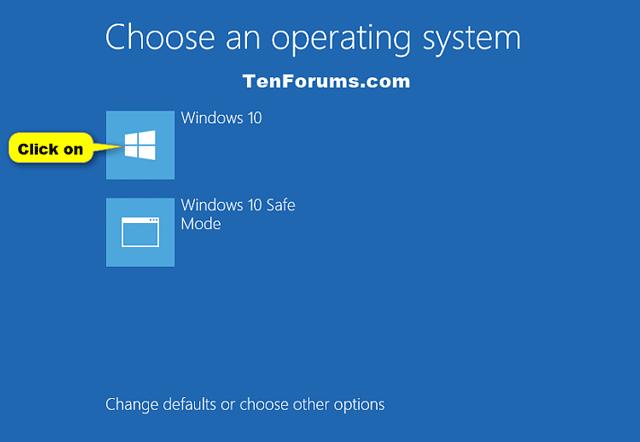 Click vào hệ điều hành muốn chạy