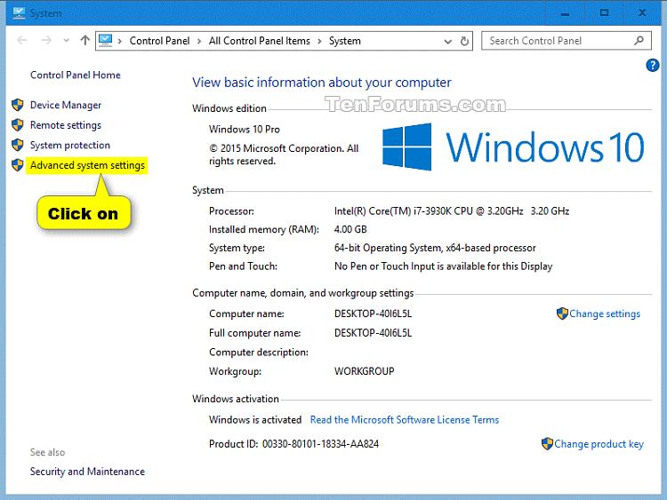 Click vào liên kết Advanced system settings