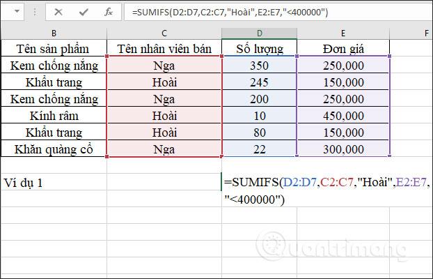 Hàm SUMIFS, cách dùng hàm tính tổng nhiều điều kiện trong Excel - Ảnh minh hoạ 2