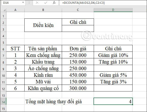 Hàm DCOUNTA, cách dùng hàm đếm ô không trống trong Excel - Ảnh minh hoạ 9