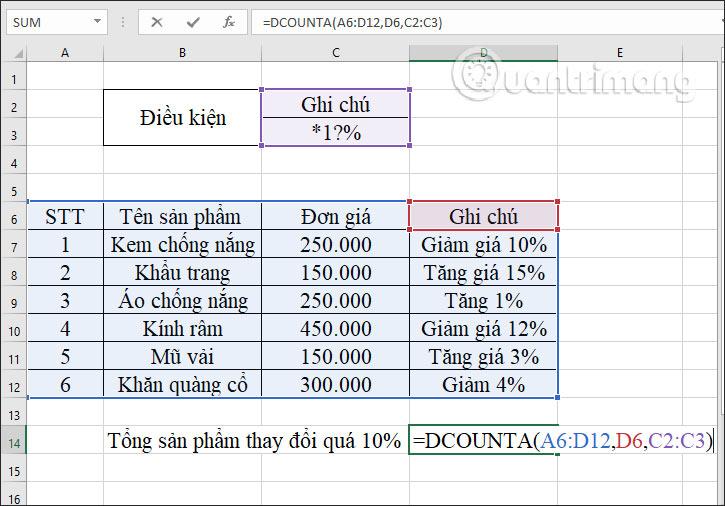 Hàm DCOUNTA, cách dùng hàm đếm ô không trống trong Excel - Ảnh minh hoạ 11