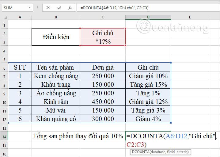 Hàm DCOUNTA, cách dùng hàm đếm ô không trống trong Excel - Ảnh minh hoạ 14