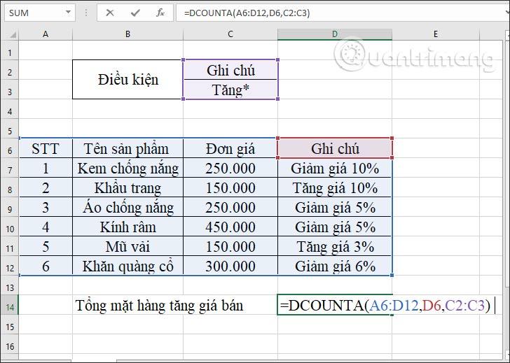 Hàm DCOUNTA, cách dùng hàm đếm ô không trống trong Excel - Ảnh minh hoạ 5