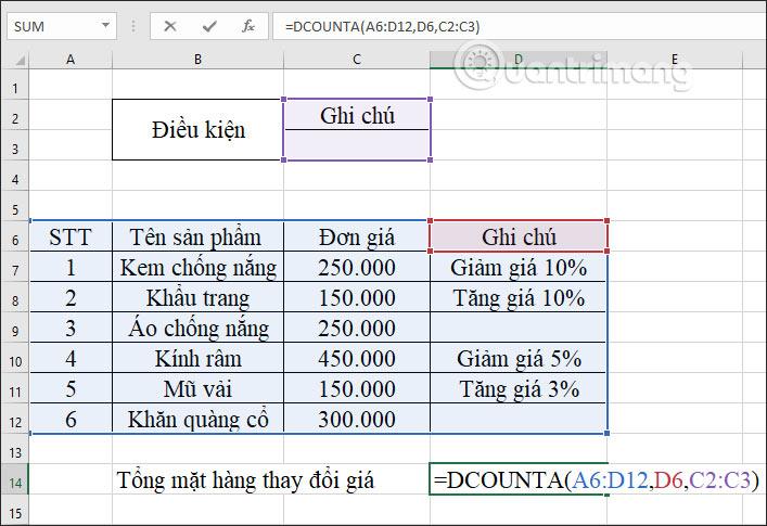 Hàm DCOUNTA, cách dùng hàm đếm ô không trống trong Excel - Ảnh minh hoạ 8