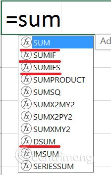 Phân biệt các hàm SUM, SUMIF, SUMIFS và DSUM
