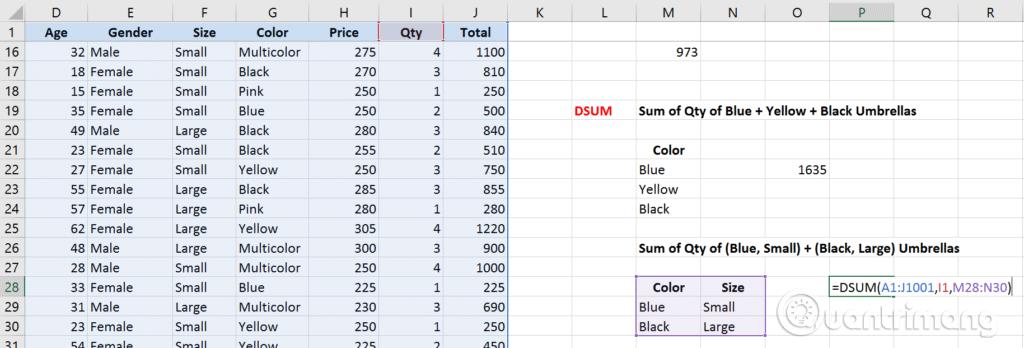 Phân biệt các hàm SUM, SUMIF, SUMIFS và DSUM - Ảnh minh hoạ 10