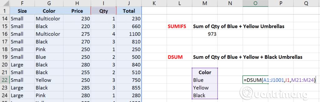 Phân biệt các hàm SUM, SUMIF, SUMIFS và DSUM - Ảnh minh hoạ 8