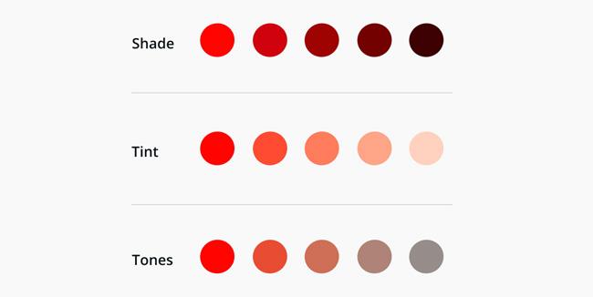 Sự khác nhau giữa Tint, Shade và Tone