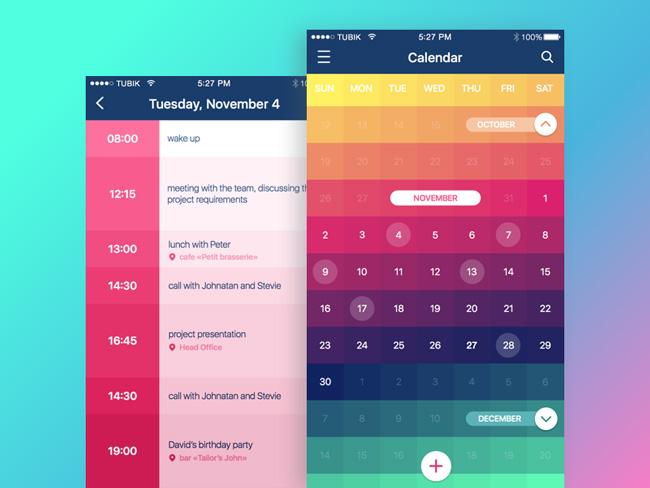 Ứng dụng Calendar của Tubik Studio sử dụng các tông màu, độ bão hòa rất đẹp cho thiết kế của mình