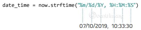 Hàm strftime() có thể chứa nhiều code định dạng