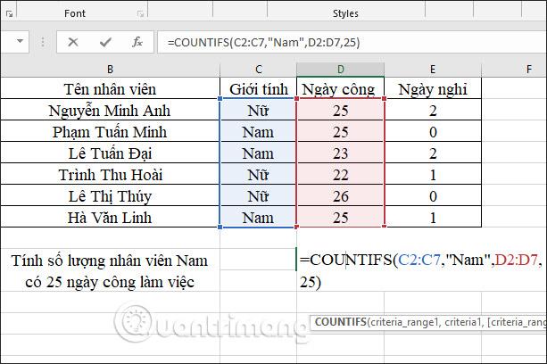 Hàm COUNTIFS, cách dùng hàm đếm ô theo nhiều điền kiện trong Excel - Ảnh minh hoạ 2