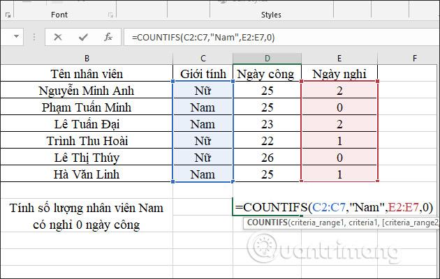 Hàm COUNTIFS, cách dùng hàm đếm ô theo nhiều điền kiện trong Excel - Ảnh minh hoạ 4