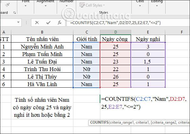 Hàm COUNTIFS, cách dùng hàm đếm ô theo nhiều điền kiện trong Excel - Ảnh minh hoạ 6
