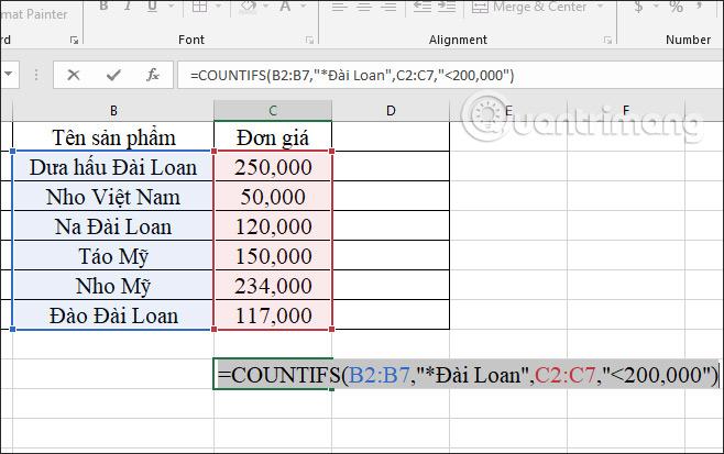 Hàm COUNTIFS, cách dùng hàm đếm ô theo nhiều điền kiện trong Excel - Ảnh minh hoạ 8