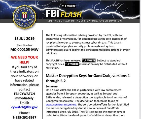 Thông báo mới của FBI với TLP: White
