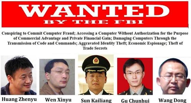Một số thành viên của Đơn vị 61398 PLA hiện đangbị FBI truy nã